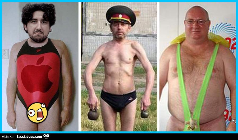 Uomini brutti e ridicoli in costume da bagno ridicolo - Facciabuco.com
