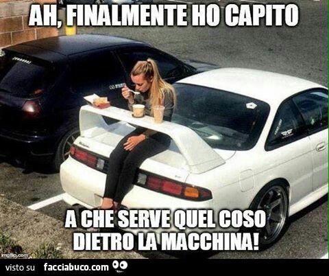 Ora si sa a cosa servono gli alettoni delle auto????… condiviso da marcom -  Facciabuco.com